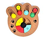 Food Treated Wooden Toy, Pet IQ Training Toy, Wood Hide & Seek Intelligence Toy, for Dogs, Cats and Other Pets (Paw Style)