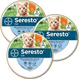 Bayer Animal Health Seresto Flea and Tick Collar for Cats, All Weights and Sizes, 8 Month Protection (3-Pack), Gray