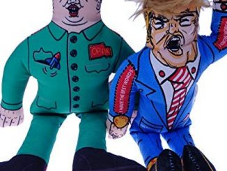 2 in 1 Packs Donald Trump Dog Toy with Kim Jong Un Gag Gifts for Dog Funny Parody Squeaky Dog Chew Toy, 10″ (2 Toys)