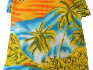 Tangpan Hawaiian Beach Coconut Tree Print Dog Shirt Summer Camp Shirt Clothes (Yellow M)