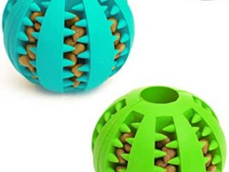 Idepet Dog Toy Ball, Nontoxic Bite Resistant Toy Ball for Pet Dogs Puppy Cat, Dog Pet Food Treat Feeder Chew Tooth Cleaning Ball Exercise Game IQ Training Ball,2 Pack- Blue & Green Reviews