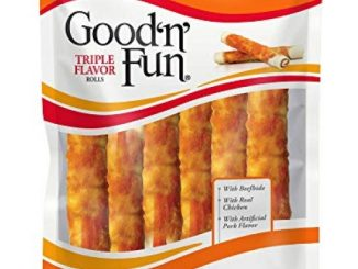 GOOD 'N' FUN Triple Flavor Large Rolls for Dogs w/Premium Beefhide 17.1 oz (6 Pack)