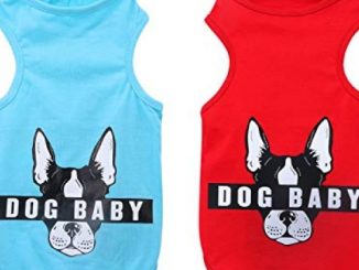 YAODHAOD Cotton Dog Clothes, Mini Dog Baby T-Shirt, French Bulldog Pattern T-Shirt, Suitable for Puppies, Mini Dogs,Small Dog and Cat (2pack) (M, RED and Blue)