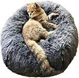 Donut Cat Bed Dog Cushion Bed, Warming Cat and Dog Bed Cushion Small Medium Large Dog Kennels Round Pillow (XL, Dark Blue)