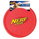 Nerf Dog Nylon Flyer Dog Toy, Frisbee, Lightweight, Durable and Water Resistant, Great for Beach and Pool, 9 inch diameter, for Medium/Large Breeds,  Single Unit, Red