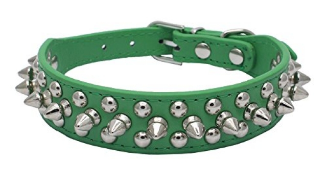Dogs Kingdom 10″-24″ Length Soft Leather Mushrooms Rivet and Spikes Studded Adjustable Buckle Pet Puppy Dog Collar for Small Medium Large Dogs Breeds Green XL