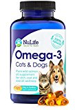 100% Pure Omega 3 Fish Oil for Dogs and Cats - Wild Alaskan Salmon Oil Supplement for Pets - For Healthy Skin and Shiny Coat - No Fishy Smells - 500mg - 120 Easy to Swallow Capsules