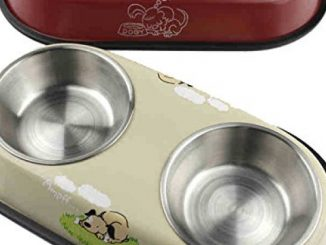 BECKY,Dog Bowl SET OF 1/2 For Dog Premium Stainless Steel Pet Bowl Food & Water Bowls 13.5-15.1 inch for small Medium Large Dog,Double Dinner Pet Bowl Non-slip Rubber Base