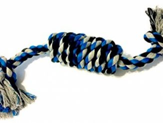 Dog Tugging Rope by Mary & Kate Pets – Large Knot – All Cotton Toy – Cleans Gums and Flosses Teeth – Sturdy – Great for Tug of War or Fetch – Make Puppy Training Fun – All Breeds and Teething Puppies