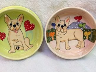 French Bulldog 8″/6″ Pet Bowls for Food/Water, Personalized at no Charge. Signed by Artist, Debby Carman. Reviews
