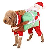 NACOCO Dog Costume Carrying Gift Box with Santa Claus Pet Cat Costumes Funny Christmas Party Festival Holiday Outfit (L)