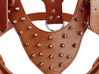 DidogStudded Spiked Leather Dog Harness for Medium and Large Dogs,Fit Pit Bulldog Terrier Mastiff Puppy Boxer(Brown)