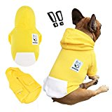 iChoue Pets Dog Clothes Hoodie Hooded French Bulldog Costume Pullover Cotton Winter Warm Coat Puppy Corgi Clothing - Yellow / Size M