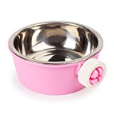 iChoue Removable and Adjustable Hanging Pet Bowl Animal Water Food Bowl for Cage Carrier - Pink