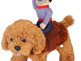 Dog Costume Halloween Pet Dog Cowboy Rider Costume Christmas Dogs Cats Suit Outfit Knight Style with Doll and Hat Adjustable Puppy Funny Cosplay Clothes Clothing Dog Dress Up Apparel Costume Size M