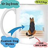 Dog Mug Personalized for Dog Mom, Dog Dad. Custom with Any Dog Breed, Pet Name & Picture. Perfect Gift Idea For Dog Lovers, Pet Memorial Coffee Cup on Birthday Christmas Father day (1 Dog, SeaView)