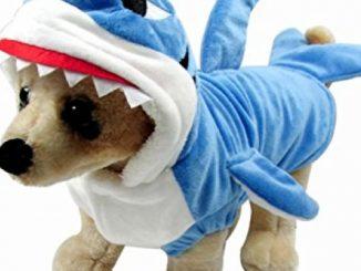 Mogoko Funny Dog Cat Shark Costumes, Pet Halloween Christmas Cosplay Dress, Adorable Blue Shark Pet Costume,Animal Fleece Hoodie Warm Outfits Clothes (M Size)